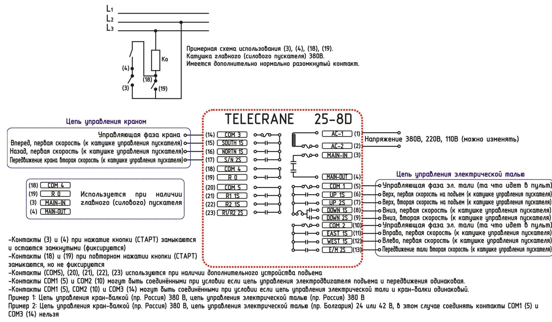 Схема подключения telecrane f21 e1b фото 81